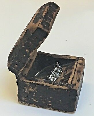 Rare miniature primitive Antique 1800s Hand carved ring box forged iron hinges *