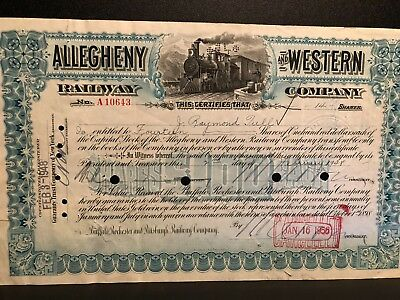 Allegheny and Western Railway Company Stock Certificates
