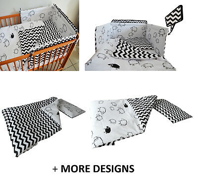 BLACK +MORE -Baby Bedding Set fit Cot 120x60cm or Cot Bed 140x70 -BABY GIRL BOY