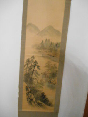 Antique Japanese Hanging Scroll Art  Painted On Paper #8