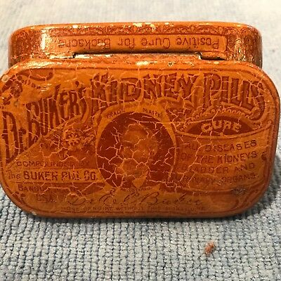 Dr. Buker's Kidney Pills Tin, cure all diseases Graphic Early Quack Medicine Tin