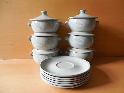 """Vtg., Denby Stoneware """"Peasant Ware"""", Individual, Lidded Soup Bowls with Plates"""
