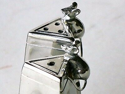 SILEA Silver Plated SALT & PEPPER Shakers with 2 MICE with BOX