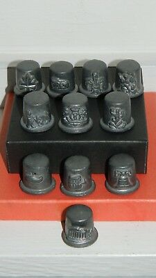 Lot 11 Vintage PEWTER SEWING THIMBLES Countries Collection SPAIN France ITALY