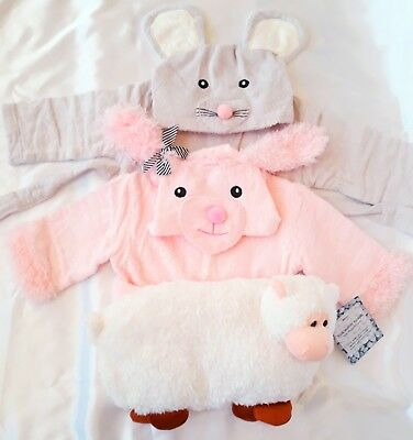 NEW 2 BATH ROBES for baby girls 6-12 M+hot water bottle RRP£30. Shop Clearance!!
