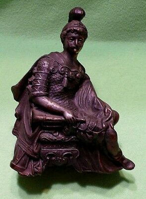 Antique bronzed Roman Soldier figural spelter metal clock topper statue. Great