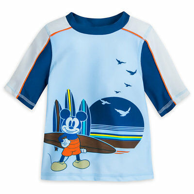 NWT Disney Store Mickey Mouse Rash Guard Swim Shirt Top Boy UPF 50+ 3,4,5/6,7/8