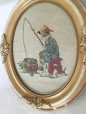 Antique  Framed Victorian Petit point/needlepoint Child Fishing In A Bucket