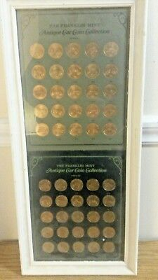 FRANKLIN MINT 'Antique Car Coin Collection' Series I & II Framed