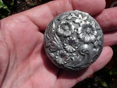 Sterling Silver Pill Box ornate Floral Repousse Marked Sterling