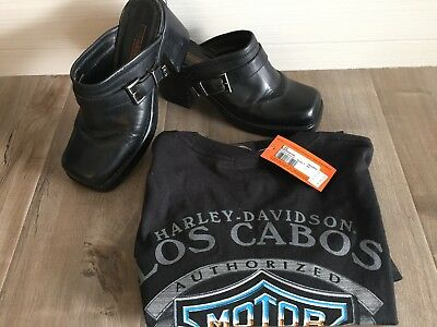 Harley Davidson Women's 81305 Black Leather Clog Mules Size 9M + New Hd Shirt Lg