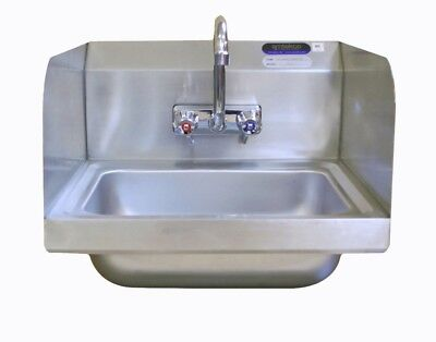 Amtekco Commercial Stainless Steel Wall Mount Hand Sink w/ Splash Guards