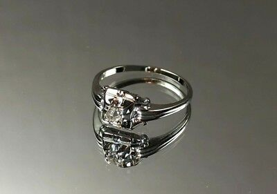 Beautiful Antique Victorian Style 18k White Gold Diamond Ring Size 8