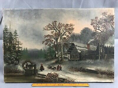 Antique Original Oil on Canvas Folk Art Painting Winter Country Children Water