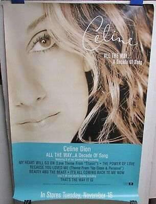 """CELINE DION A Decade Of Song 1999 24x36"""" Promo Poster [R040]"""