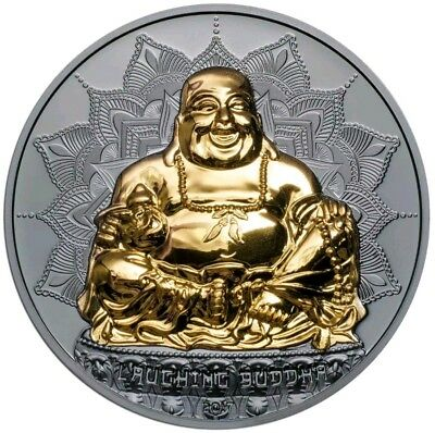 2017 2 Oz BLACK PROOF Silver Palau $10 LAUGHING BUDDHA High Relief Coin.
