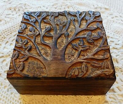 Lovely Carved Wooden Trinket/jewellery Box With Tree Of Life Design