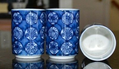 3 Sake Cups Blue and White Porcelain Unknown Mark on Bottom 2.5 inches tall