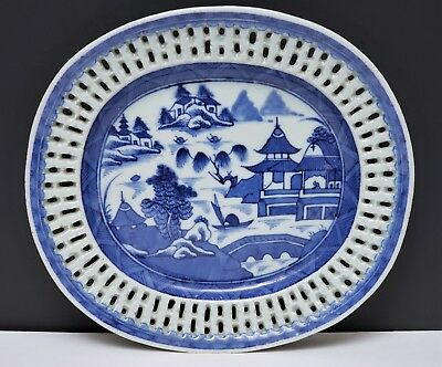19th c Antique Chinese Export Blue & White Canton Porcelain Reticulated Tray