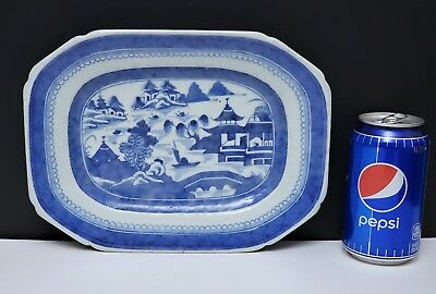 """19th c Antique Chinese Export Blue & White Canton Porcelain Tray / Platter 10"""""""
