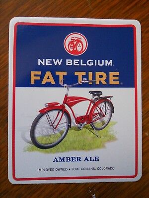 New Belgium Brewing ~ FAT TIRE Amber Ale ~  Beer Sticker Colorado Craft ~bicycle