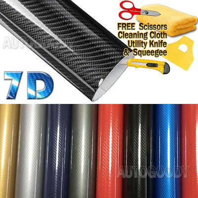 7D Premium Super Gloss Carbon Fiber Vinyl Film Wrap Bubble Free Air Release 5D