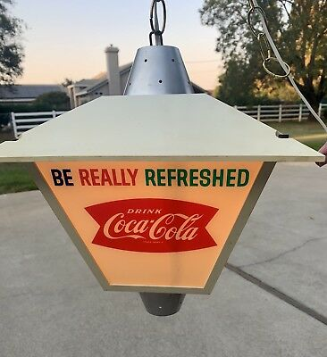 Vintage 1960 Coca Cola Supermarket Register Light Up Sign Lantern 4 Sided