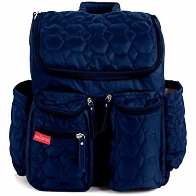 Wallaroo Diaper Bag Backpack with Stroller Straps, Wet Bag Diaper Changing Navy