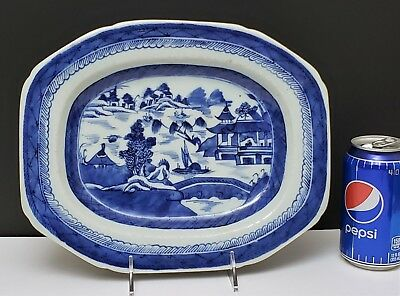 """19th c Antique Chinese Export Blue & White Canton Porcelain Tray / Platter 11.5"""""""