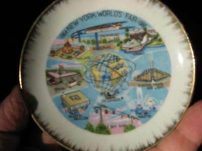 New York World's Fair 1964 1965 PORCELAIN PLATE Official Souvenir Unisphere RARE