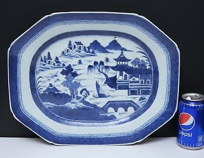 """19th c Antique Chinese Export Blue & White Canton Porcelain Tray / Platter 15.5"""""""