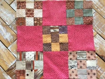 ~Back In Time Textiles~Antique mid 1800's Quilt block doll quilts copper madder