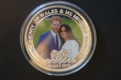 Prince Harry and Ms. Meghan Markle  - Silver Plated Coin in Case.