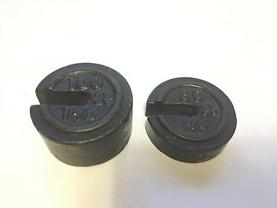 Set of 2 Vintage Cast Iron Stacking / Nesting Scale Weights:  3/4 & 1-1/2 pounds