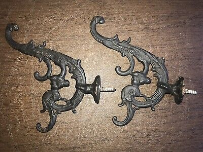 Antique Ornate Nautical Eastlake Mermaid Face Wall Coat Hooks Victorian