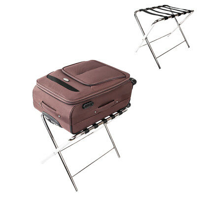 Folding Luggage Rack Suitcase Stand Hotel Travel Stainless Steel Storage Holder