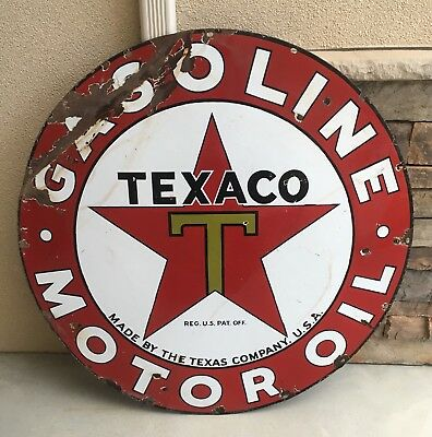 "Vintage 1930's Texaco Gasoline Motor Oil 42"" Porcelain Gas Station Garage Sign"