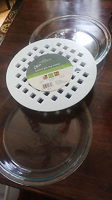 """Two clear glass Pyrex 9"""" pie dishes and one Lattice pie top cutter"""