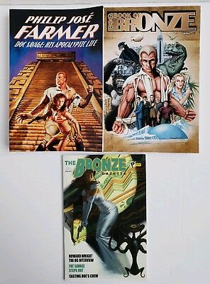 Lot of 3 Books about Doc Savage ~ 1-The Bronze Gazette 2-Big Bronze 6  ~ PPs