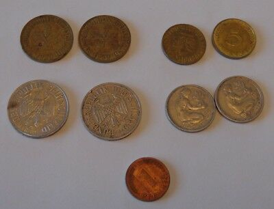 Mixed Lot 9 Vintage German Marks & Pfennigs - 1949 to 1956