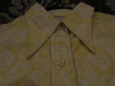 Vintage 1960's PARTY Mod Shirt Polyester Hipster Disco YELLOW PAISLEY BUTTERFFLY