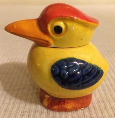 CUTE Vintage Children's Colorful Art Deco Covered Pelican Sugar Bowl
