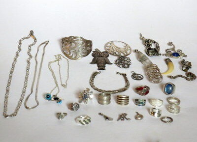 Vintage Sterling Silver Jewelry Lot Some Unique Pieces Scrap or Not