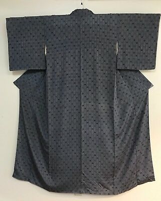 Vintage Grey Kimono  Decorated with Little Flowers #049