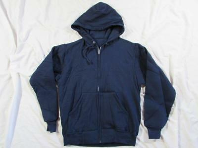 Vtg NOS 60s Thermal Waffle Lined Navy Blue Hooded Full Zip Sweatshirt Cotton 50s