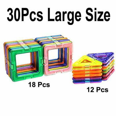 30Pcs Large DIY Magnetic Building Toys Construction Blocks Bricks Kid Toy Game