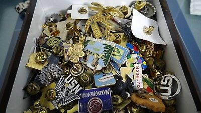 Huge Mixed Lot Of Lapel Hat Pins Sports Pinback Buttons Ect .over .2000 Grams