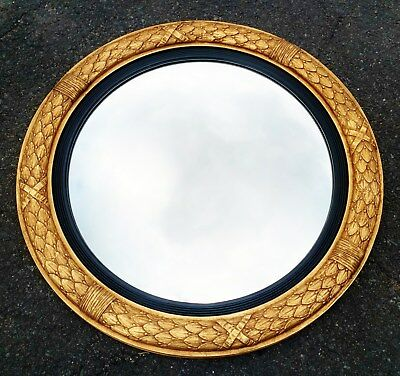 """GIANT Round 40"""" CLASSICAL French CARVED & GILT  WOOD CONVEX MIRROR Bullseye"""