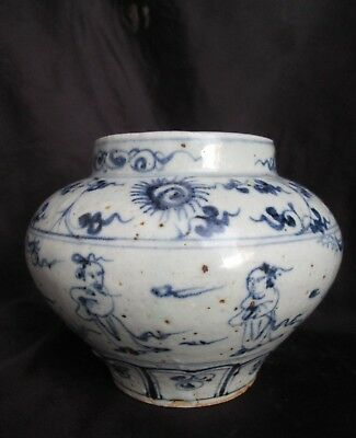 Antique 14th Century Chinese Yuan MING DYNASTY BLUE and WHITE Porcelain Jar VASE