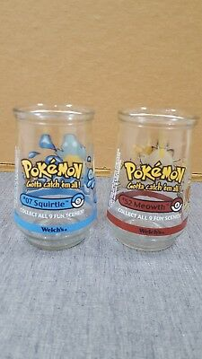 2 Pokemon Welch's Jelly Glass - 1999 - #07 Squirtle 5 & #52 Meowth 4 - NICE!